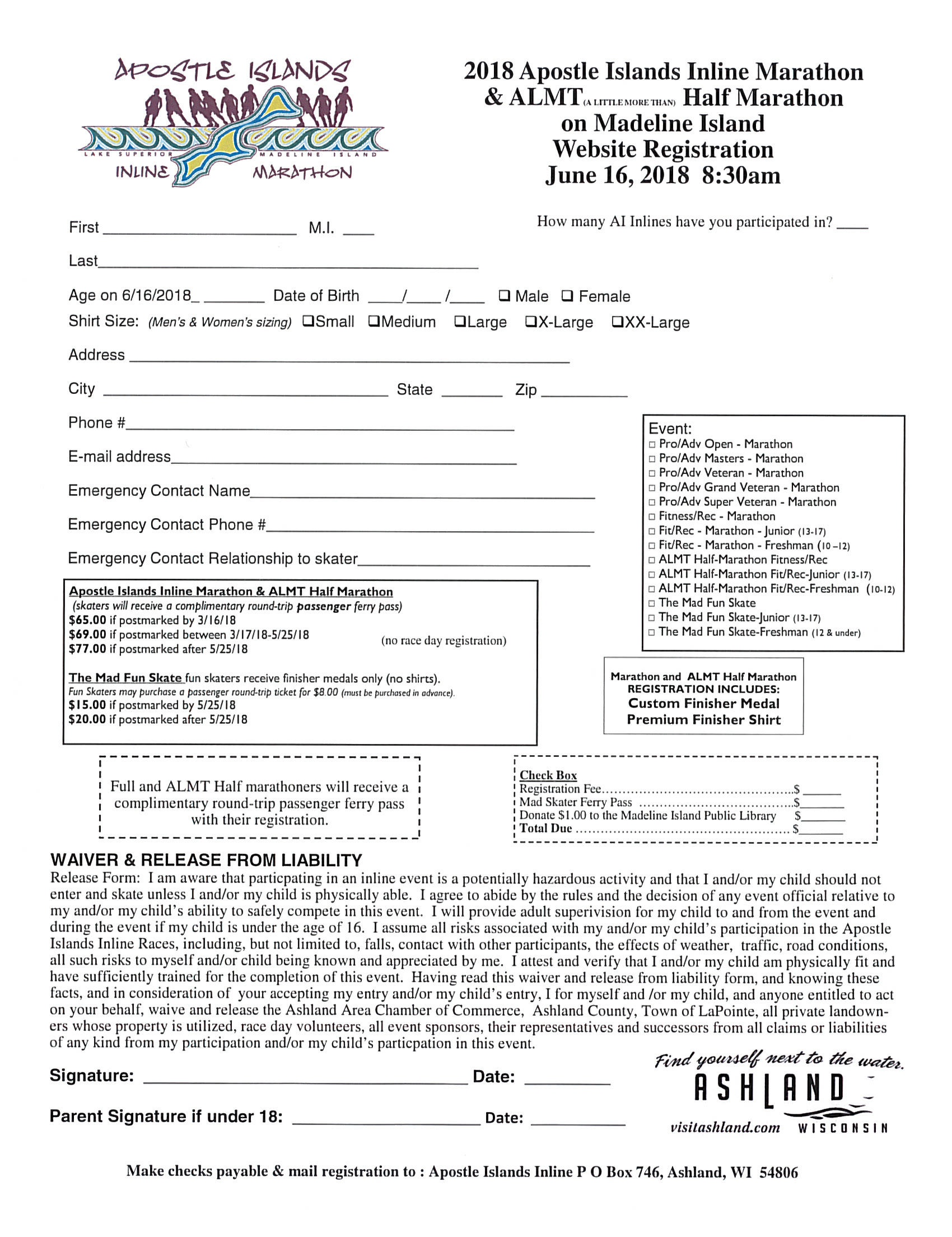 Online Registration Or Download Form Madeline Island Wisconsin Click The Image For A Pdf Version